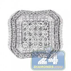 14K White Gold 3.80 ct Diamond Square Shape Signet Mens Ring