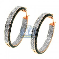 14K Rose Gold 4.50 ct Black White Diamond Womens Hoop Earrings 1 1/2 Inches
