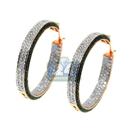 Womens Iced Out Diamond Hoop Earrings 14K Rose Gold 4.50 ct
