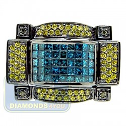 Black PVD 14K Gold 2.58 ct Blue Yellow Diamond Mens Ring