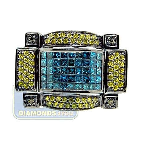Black 14K White Gold 2.58 ct Blue Yellow Diamond Mens Ring