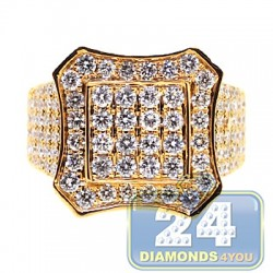 14K Yellow Gold 4.10 ct Diamond Mens Octagon Ring