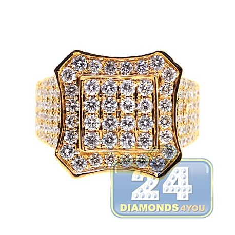 Mens Iced Out Diamond Octagon Ring 14K Yellow Gold 4.10ct