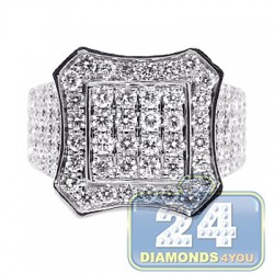 14K White Gold 4.12 ct Diamond Mens Octagon Ring