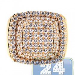 14K Yellow Gold 3.79 ct Diamond Step Square Signet Ring