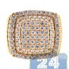 Mens Diamond Step Square Signet Ring 14K Yellow Gold 3.79ct