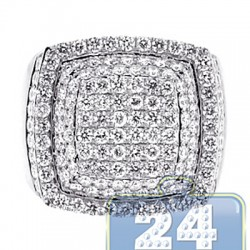 14K White Gold 3.79 ct Diamond Step Square Signet Ring