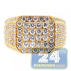 14K Yellow Gold 4.30 ct Iced Out Diamond Mens Square Ring