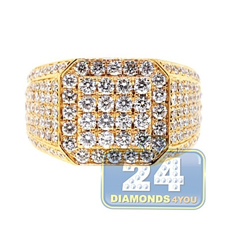 Mens Iced Out Diamond Square Signet Ring 14K Yellow Gold 4.30ct