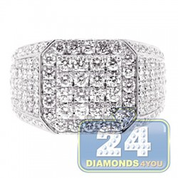 14K White Gold 4.32 ct Iced Out Diamond Mens Square Ring