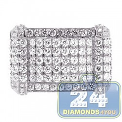 14K White Gold 3.23 ct Diamond Rectangular Shape Mens Ring