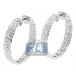 Womens Diamond Round Hoop Earrings 18K White Gold 3.64 Carat