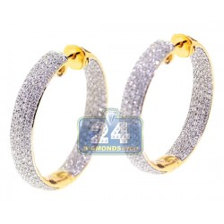 18K Yellow Gold 3.65 ct Diamond Round Hoop Earrings 1 1/4 Inch