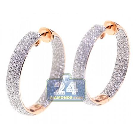 Womens Diamond Round Hoop Earrings 18K Rose Gold 3.66 Carat