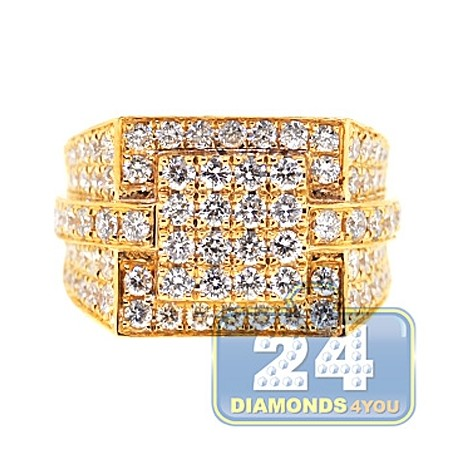 Mens Iced Out Diamond Signet Ring 14K Yellow Gold 3.66ct SI1 G
