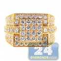14K Yellow Gold 3.66 ct Iced Out Diamond Mens Signet Ring