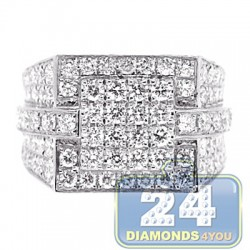 14K White Gold 3.66 ct Iced Out Diamond Mens Signet Ring