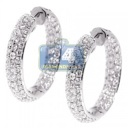 18K White Gold 3.53 ct Diamond Womens Round Hoop Earrings 1 Inch