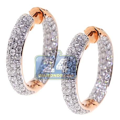"Womens Inside Out Diamond Round Hoop Earrings 1"" 18K Rose Gold"