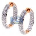 18K Rose Gold 3.54 ct Diamond Womens Round Hoop Earrings 1 Inch