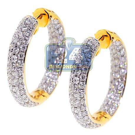 "Womens Inside Out Diamond Round Hoop Earrings 1"" 18K Yellow Gold"