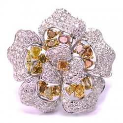 14K Gold 4.48 ct Fancy Yellow Diamond Womens Flower Ring