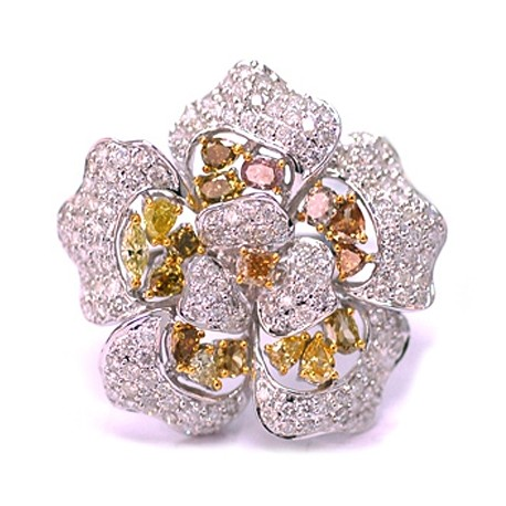 14K White Gold 4.48 ct Fancy Yellow Diamond Womens Flower Ring