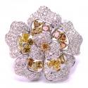 14K Gold 4.48 ct Fancy Yellow Diamond Womens Flower Ring