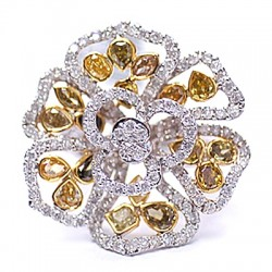 14K White Gold 5.10 ct Fancy Yellow Diamond Vintage Flower Ring