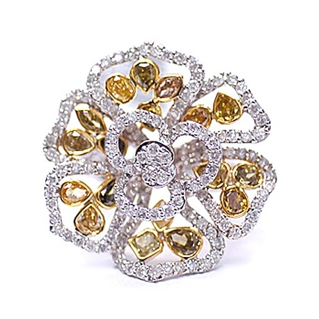 14K White Gold 5.10 ct Fancy Yellow Diamond Vintage Flower Ring
