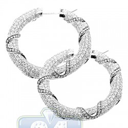 14K White Gold 10.43 ct Iced Out Diamond Womens Hoop Earrings