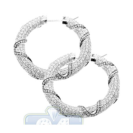 Womens Iced Out Diamond Round Hoop Earrings 14K White Gold