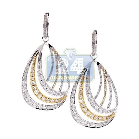 Womens Diamond Oval Dangle Earrings 14K Two Tone Gold 4.05 ct