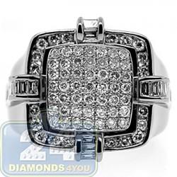 Black 14K White Gold 2.05 ct Diamond Mens Signet Ring