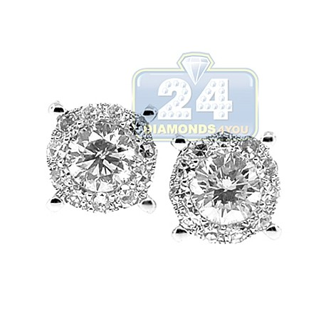 Womens Diamond Illusion Stud Earrings 14K White Gold 1.79 ct