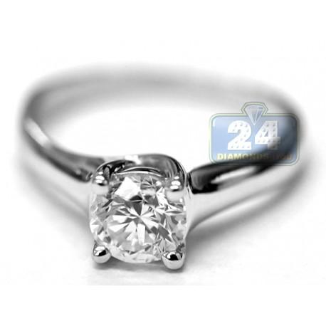 14K White Gold 1 ct Round Diamond Solitaire Womens Engagement Ring