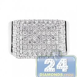 14K White Gold 3.37 ct Diamond Step Mens Signet Ring