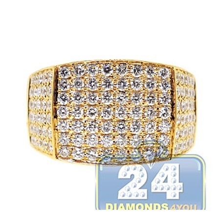 Mens Round Cut Diamond Rectangle Ring 14K Yellow Gold 3.31ct