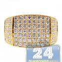 14K Yellow Gold 3.31 ct Round Cut Diamond Mens Rectangle Ring
