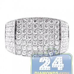 14K White Gold 3.36 ct Round Cut Diamond Mens Rectangle Ring