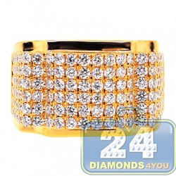 14K Yellow Gold 3.02 ct Round Cut Diamond Mens Ring