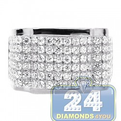 14K White Gold 3.00 ct Round Cut Diamond Mens Ring