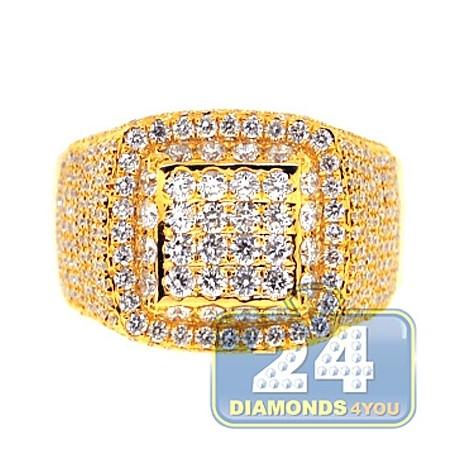 Mens SI1 G Diamond Luxury Signet Ring 14K Yellow Gold 3.06ct
