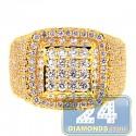 14K Yellow Gold 3.06 ct Diamond Mens Signet Ring