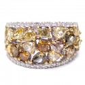 14K White Gold 4.35 ct Fancy Yellow Diamond Womens Ring