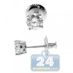 14K White Gold 1.11 ct Round Diamond Screw Back Stud Earrings