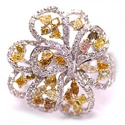 14K White Gold 3.62 ct Fancy Yellow Diamond Womens Flower Ring