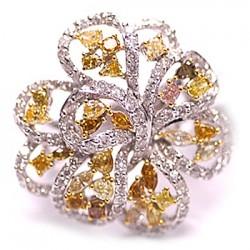 14K White Gold 3.62 ct Fancy Yellow Diamond Womens Flower Ring