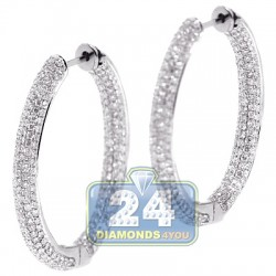 "Womens Inside Diamond Oval Hoop Earrings 18K White Gold 1.25"""
