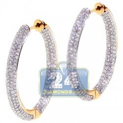 """Womens Inside Diamond Oval Hoop Earrings 18K Yellow Gold 1.25"""""""